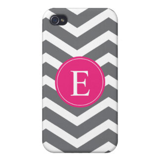Grey White Chevron Bright Pink Monogram Cases For iPhone 4