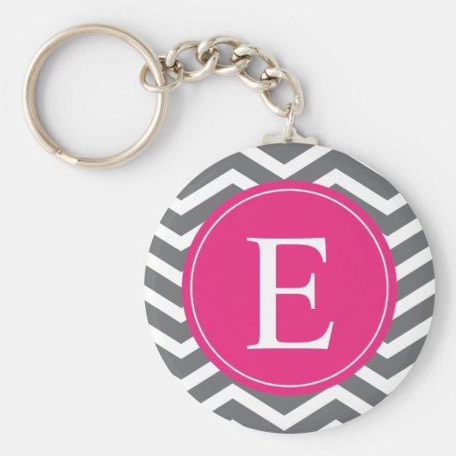 Grey White Chevron Bright Pink Monogram Key Chain