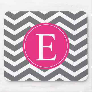 Grey White Chevron Bright Pink Monogram Mouse Pad