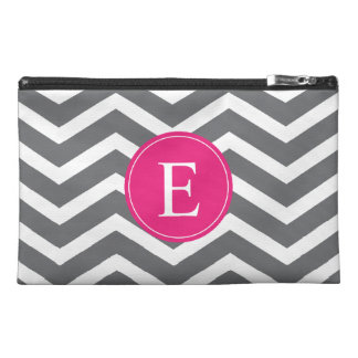 Grey White Chevron Bright Pink Monogram Travel Accessory Bag