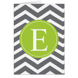 Grey White Chevron Green Monogram Card