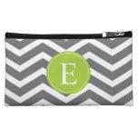 Grey White Chevron Green Monogram Cosmetic Bag