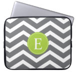 Grey White Chevron Green Monogram Laptop Computer Sleeve