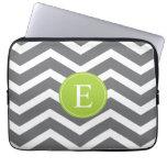 Grey White Chevron Green Monogram Laptop Computer Sleeves