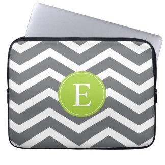 Grey White Chevron Green Monogram Laptop Sleeve