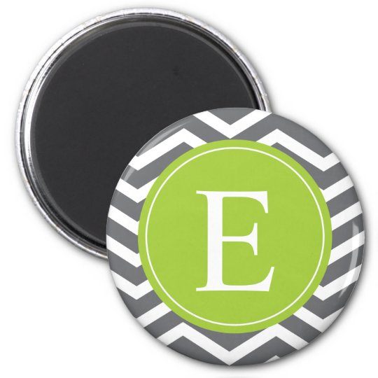 Grey White Chevron Green Monogram Magnet