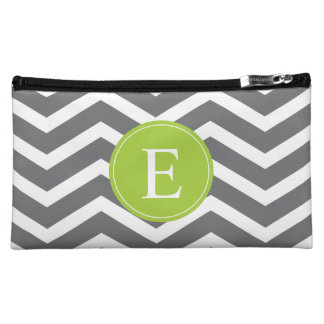 Grey White Chevron Green Monogram Makeup Bag