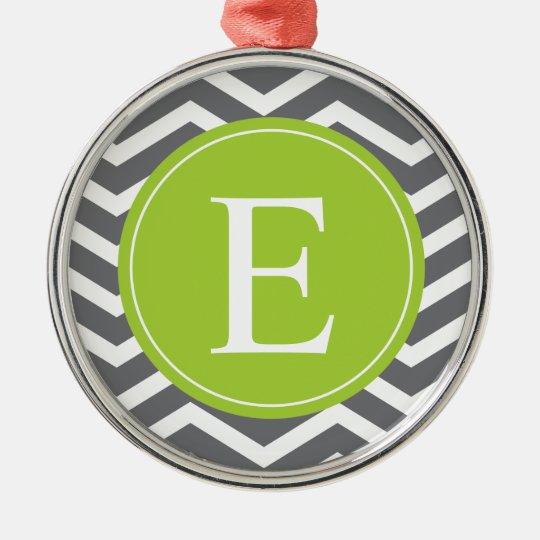 Grey White Chevron Green Monogram Metal Ornament
