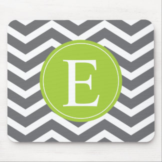 Grey White Chevron Green Monogram Mouse Pad