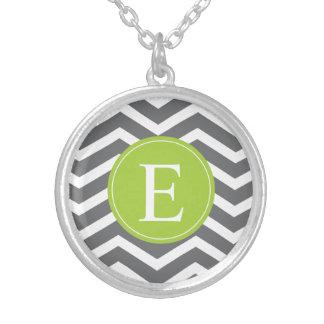 Grey White Chevron Green Monogram Custom Necklace