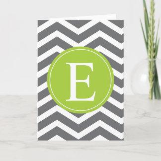 Grey White Chevron Green Monogram Note Card