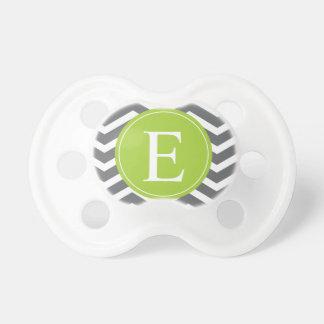 Grey White Chevron Green Monogram Pacifier
