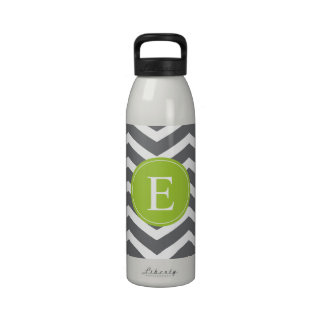 Grey White Chevron Green Monogram Water Bottles