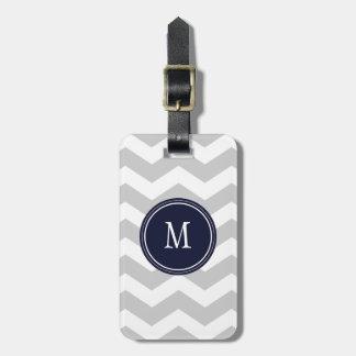 Grey & White Chevron Monogram Luggage Tag