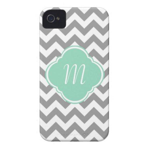 Grey & White Chevron Stripe Custom Monogram iPhone 4 Cover