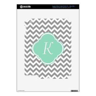 Grey & White Chevron Stripe Custom Monogram Decals For iPad 3