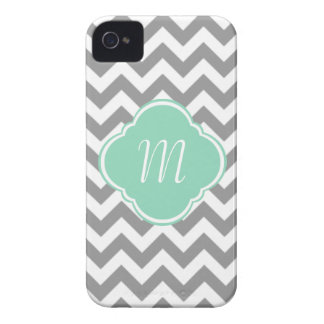 Grey & White Chevron Stripe Custom Monogram iPhone 4 Case-Mate Case