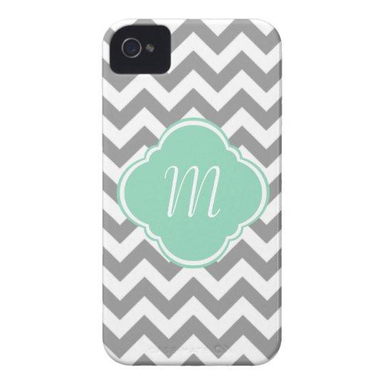 Grey & White Chevron Stripe Custom Monogram iPhone 4 Case-Mate Case
