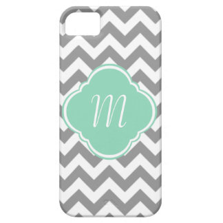 Grey & White Chevron Stripe Custom Monogram iPhone SE/5/5s Case