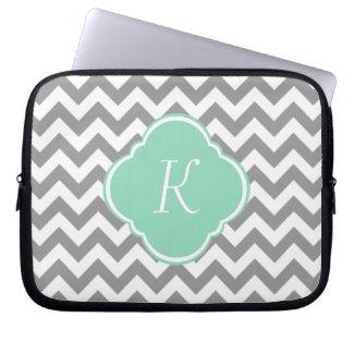 Grey & White Chevron Stripe Custom Monogram Laptop Computer Sleeve