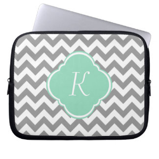 Grey & White Chevron Stripe Custom Monogram Laptop Sleeve