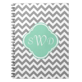 Grey & White Chevron Stripe Custom Monogram Notebook