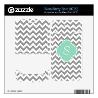 Grey White Chevron Stripe Custom Monogram BlackBerry Decal
