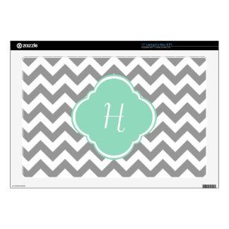 Grey & White Chevron Stripe Custom Monogram Skins For Laptops