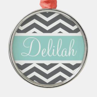 Grey White Chevron Teal Name Christmas Ornaments