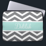 "Grey White Chevron Teal Name Computer Sleeve<br><div class=""desc"">Customise this vibrant grey / gray and white chevron pattern and pastel teal text banner with the name of your choice.</div>"