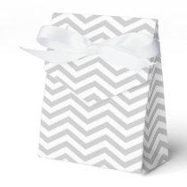 Grey, white chevron zigzag pattern wedding favor box