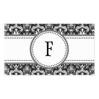 Grey & White Classic Damask Mommy Calling /m Business Cards