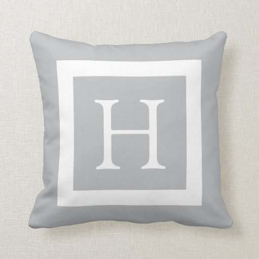Grey White Custom Monogram Throw Pillow