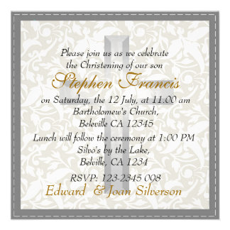 Grey white damask Baby Christening Baptism Announcement