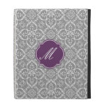 Grey & White Damask Monogram iPad Folio Case