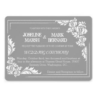 Grey & White Damask Roses Wedding Invitation
