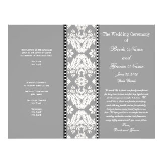 Grey White Damask Wedding Program