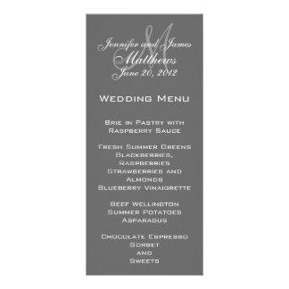 Grey White Elegant Monogram Wedding Menu Cards