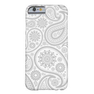 Grey White Floral Paisley Pattern Barely There iPhone 6 Case