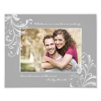 Grey White Floral Template Photographic Print