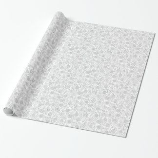 Grey & White Floral Gift Wrap Paper