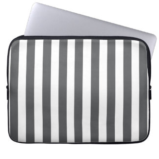 Grey White Fun Bold Stripes Pattern Computer Sleeves