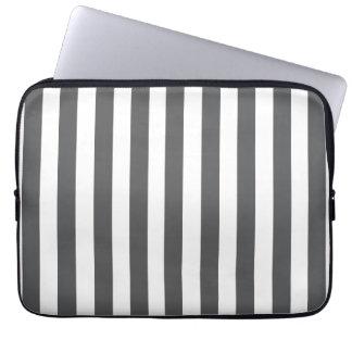 Grey White Fun Bold Stripes Pattern Laptop Sleeves