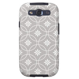 Grey White Geometric Floral Pattern Galaxy S3 Cover