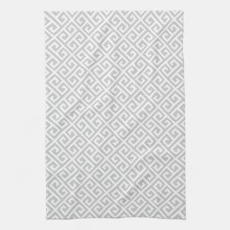 Grey & White Greek Key Pattern Hand Towel