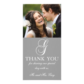 Grey White Initial G Wedding Thank You Photo Card