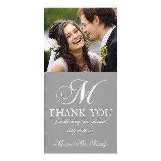 Grey White Initial M Wedding Thank You Photo Card