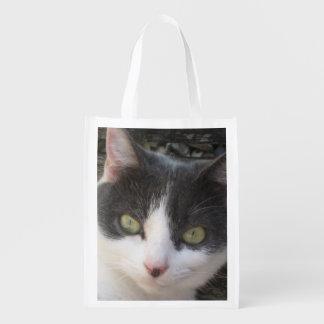Grey & White Kitten Photo Image Reusable Bag