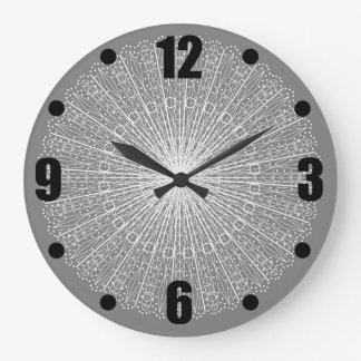 Grey White Lace Roundel Lacy Pattern Gray Large Clock