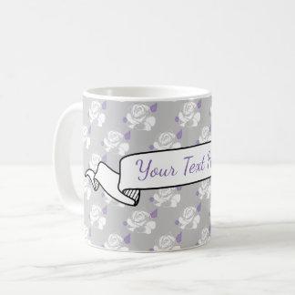 Grey White Lavender Rose Floral Banner Name Coffee Mug